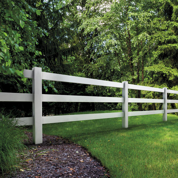 white vinyl ranch fence